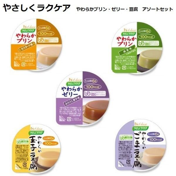 やさしくラクケア やわらかプリン ゼリー 豆腐 5種×各1個 アソートセット ハウス食品 介護食