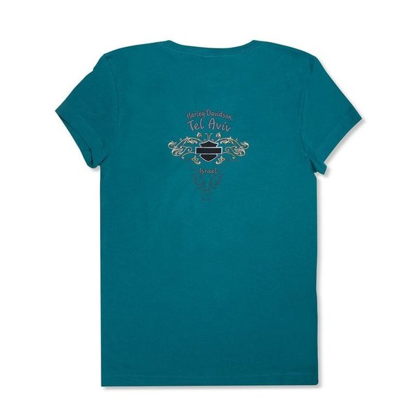 Harley-Davidson T-Shirt Biker Short Sleeve Men Woman Tel-Aviv Israel Blue