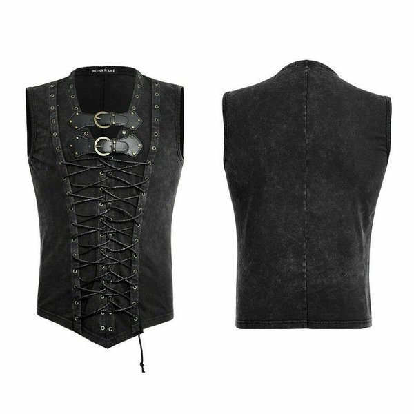 Punk Rave Men Black Sleeveless Steampunk Rock Goth Punk Vest Tank Top T-Shirt