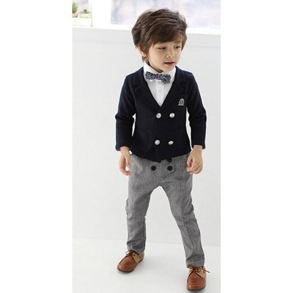 6496e2a4dd5ad 子供服 フォーマル 男の子 ボーイズ スーツ コート ズボン2点セット 蝶 ...