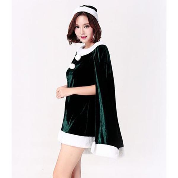 40c02e580d7f2 ... サンタ コスプレ サンタコス クリスマス 衣装 ハロウィン 仮装 帽子 ワンピース マント付き 2点セット ミニワンピ 赤 ...