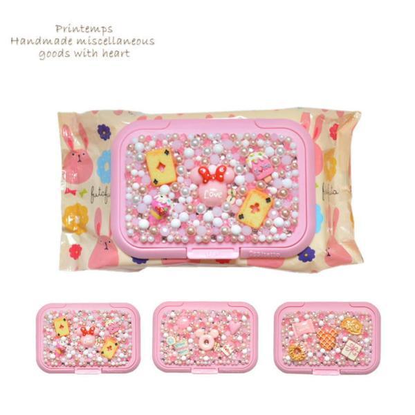 ウェットティッシュのふた 薄ピンク 選べるデザイン スイーツデコ ウエットティッシュ付き printemps410