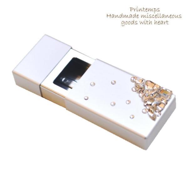 SWAROVSKI  ビジューデコ 携帯灰皿  スライド式 灰皿 オシャレ 吸殻入れ