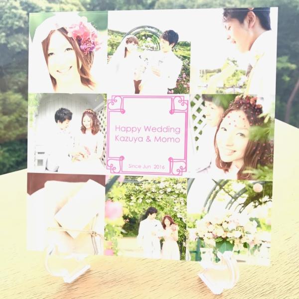 結婚メモリアル用アクリルフォトプレート (スタンド付) 20x20x1cm printplus 02
