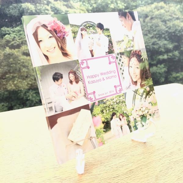 結婚メモリアル用アクリルフォトプレート (スタンド付) 20x20x1cm printplus 04