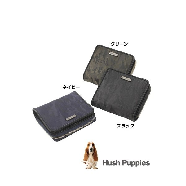ハッシュパピーミリタリーHushPuppies二つ折り財布迷彩柄ラウンドファスナー財布人気犬カジュアルコインケースお洒落父の日ギ