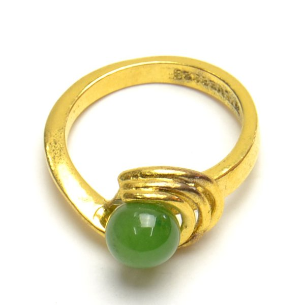 グリーン ストーン リング 9号 ゴールドカラー レディース メンズ 豪華 指輪 アクセサリー f-er1031