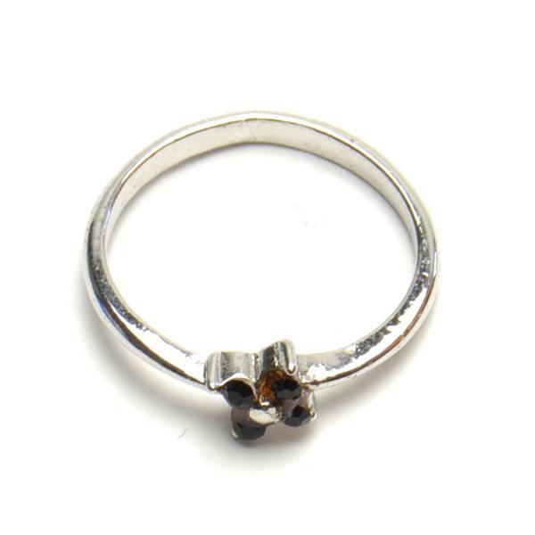 ミニ フラワー モチーフ  ブラック ラインストーン リング レディース メンズ 豪華 指輪 アクセサリー f-er1079