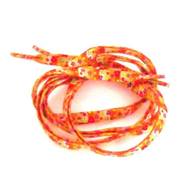 靴ひも 平ひも 110センチ  ポップハートデザイン  オレンジカラー 可愛い お洒落 スニーカー f-kh30