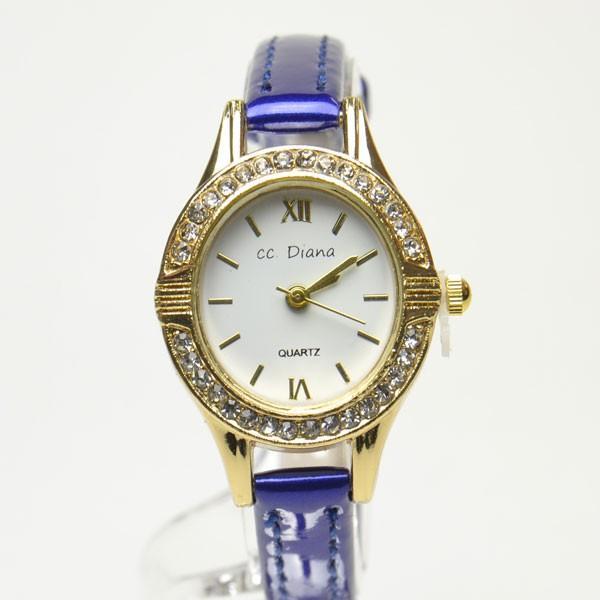 腕時計 電池式クォーツ レディスウォッチ お洒落ネイビーベルト ビジューサークル ゴールドカラー 皮ベルト 3ヶ月保証つき  f-kt170