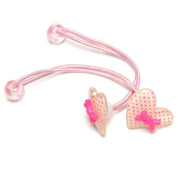ハート アクリル ジュニアポニー ピンク ドット かわいい 2個組 ツィンテール f-mg99