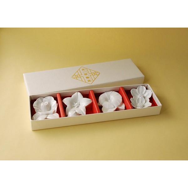 四季の花 箸置き4個セット - 白磁 波佐見焼きの窯元がルーツ - 英一郎製磁|product-factory-jp