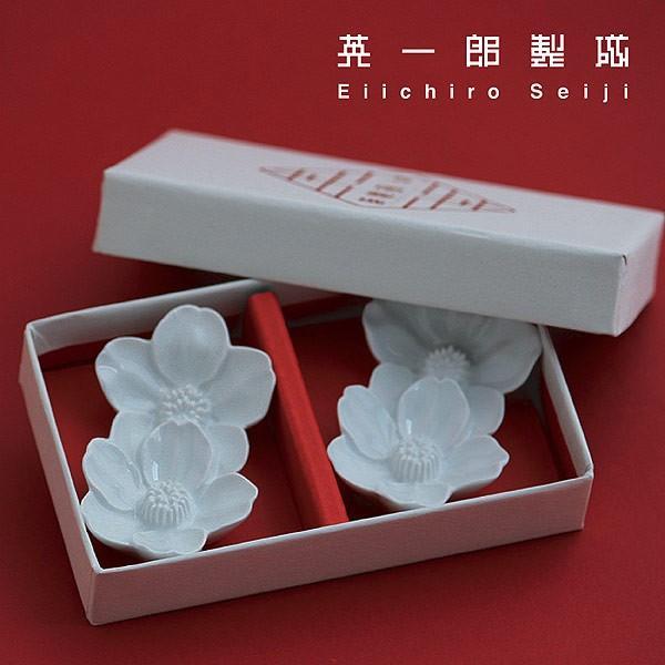 箸置き さくらの花 2個セット - おしゃれ陶器プレゼントに 白磁 波佐見焼の窯元がルーツ - 英一郎製磁|product-factory-jp