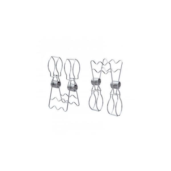 ステンレス製の竿止めクリップ 2個組 洗濯バサミ 落下防止 ストッパー マンション ハンガー止め 竿ピンチ 布団 物干し竿 劣化しにくい 二股 庭 サビにくい マッ