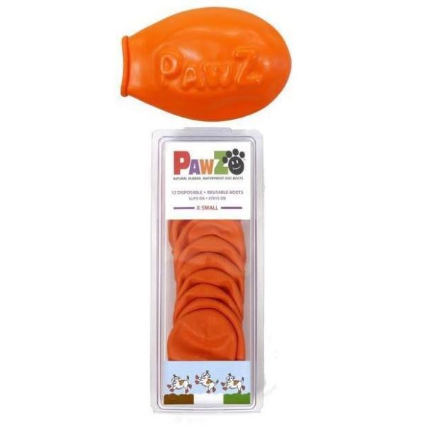 正規輸入品 アメリカ Pawz Dog Boots社製 ポウズ ラバードッグブーツ オレンジ XS PZXS 肉球保護 ペット用品 ゴム 雨の日 ギフト 防水 犬ブーツ 雪遊び