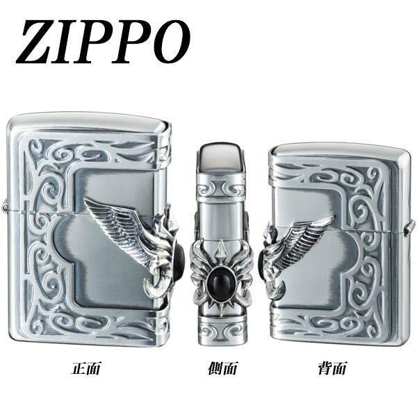 ZIPPO ストーンウイングメタル オニキス ライター デザイン かっこいい 天然石 日本 プレゼント たばこ おしゃれ ギフト