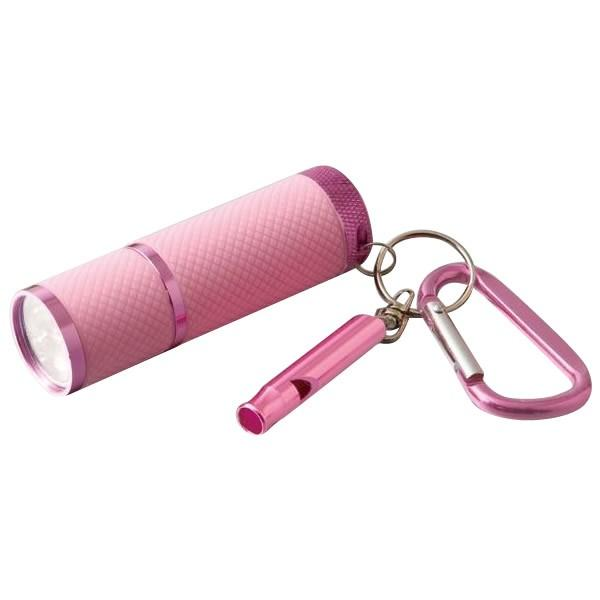 緊急ホイッスル&LEDライト ガードマン 2セット 乾電池 コンパクト 防災 キーホルダー ピンク 防犯 携帯 笛