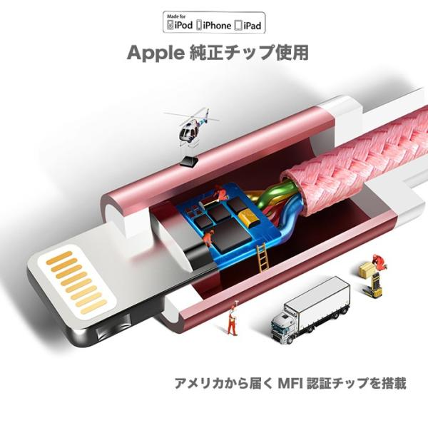 ライトニング ケーブル Apple公式認定品 アップル MFI 認証 充電ケーブル iPhone8 X 7 7Plus iPad Mini 等対応 us199 NP|project-a|02