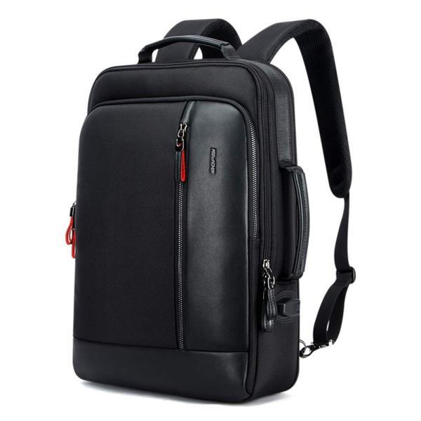 BOPAI リュックサック革 レディース 盗難防止 リュック メンズ 2wayビジネスリュック 防水 USB充電ポート搭載 男女兼用 15.6インチパソコン対応 ブラック