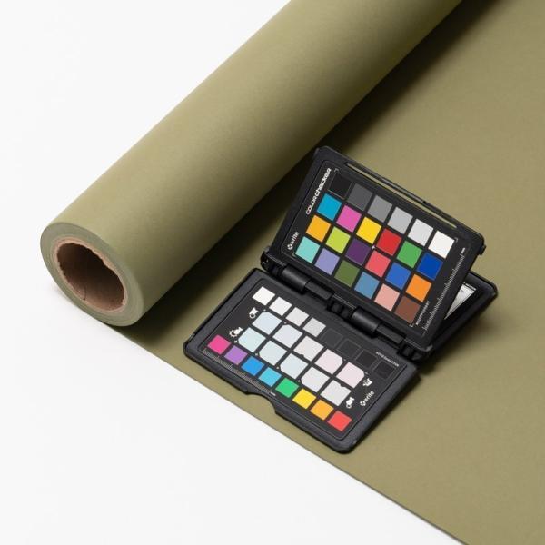 撮影用背景紙 1.36×11mロールバック紙 (334 オリーブグリーン/巻芯・梱包付) バックペーパー