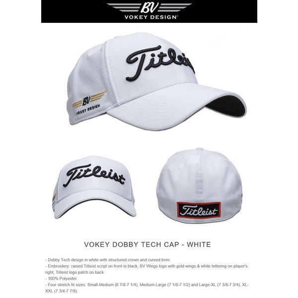 ... Titleist Vokey Titleist Logo Dobby Tech Cap White タイトリスト ボーケイ  ドビーテックキャップ ホワイト 5d414d7e96b6