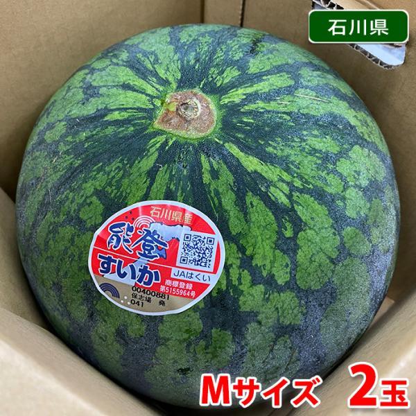 送料無料 石川県産 能登すいか 秀品・Mサイズ 2玉入り(箱)