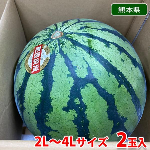 【送料無料】熊本県産 すいか 肥後浪漫 秀品・2L〜4Lサイズ 2玉入(箱)