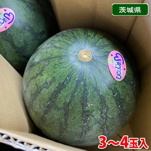 茨城県産 すいか 小玉すいか(こだま西瓜)秀品 3〜4玉入り 2L〜3Lサイズ(箱)