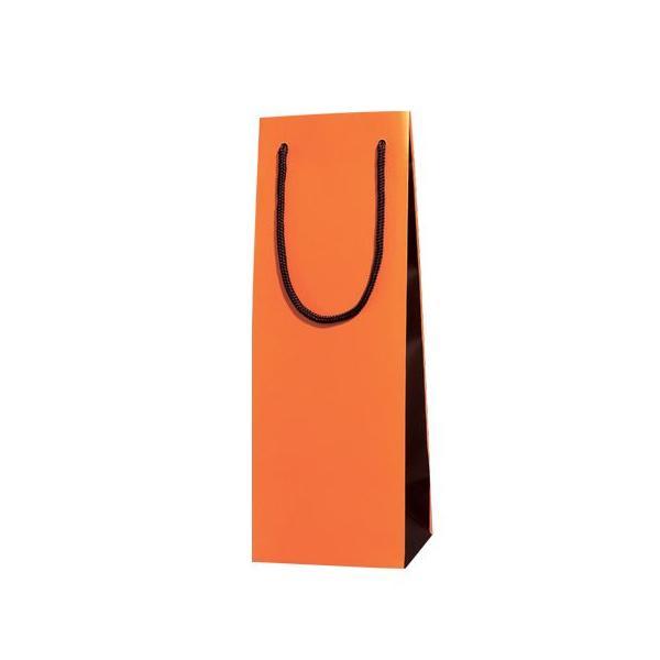 紙袋/シモジマ 高級手提げ紙袋 ブライトバッグ LL オレンジ×チョコブラウン 10枚