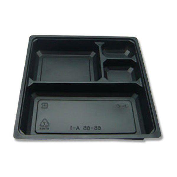 幕の内・弁当容器 使い捨て 業務用 一体型 65-65 中仕切り 黒 50枚