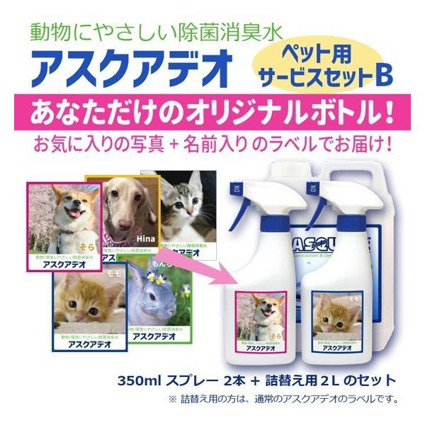動物にやさしい除菌消臭水 アスクアデオ【ペット写真をラベルにします】Bセット(350mlスプレー2本+詰替え用2L)次亜塩素酸水 100ppm 愛犬 愛猫 小動物 名入れ propre-racli