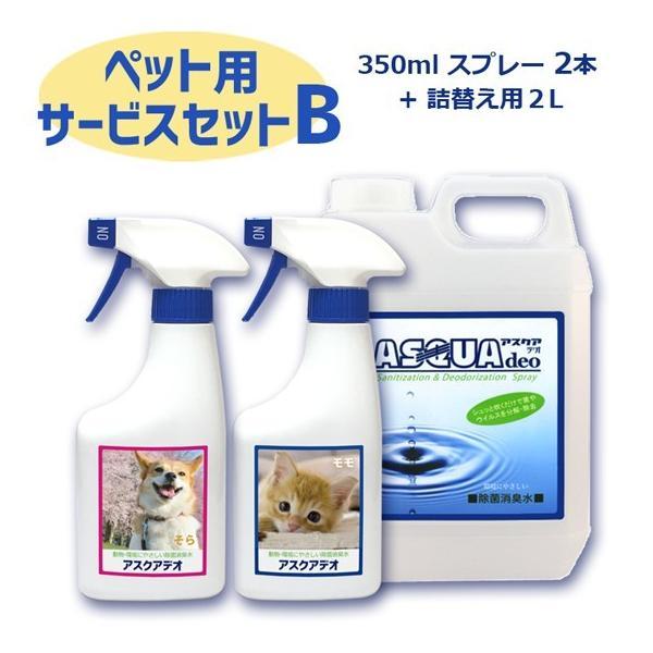 動物にやさしい除菌消臭水 アスクアデオ【ペット写真をラベルにします】Bセット(350mlスプレー2本+詰替え用2L)次亜塩素酸水 100ppm 愛犬 愛猫 小動物 名入れ propre-racli 02