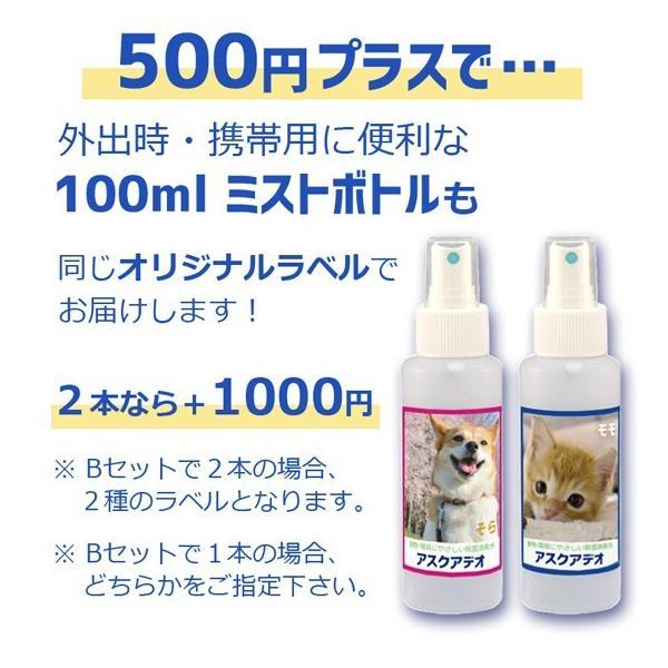 動物にやさしい除菌消臭水 アスクアデオ【ペット写真をラベルにします】Bセット(350mlスプレー2本+詰替え用2L)次亜塩素酸水 100ppm 愛犬 愛猫 小動物 名入れ propre-racli 05