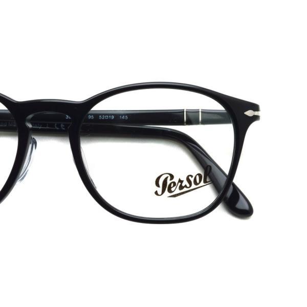Persol ペルソール メガネフレーム 3007VM アジアンフィット  95 ブラック 黒縁ボストンウェリントン イタリア製 国内正規品|props-tokyo|03