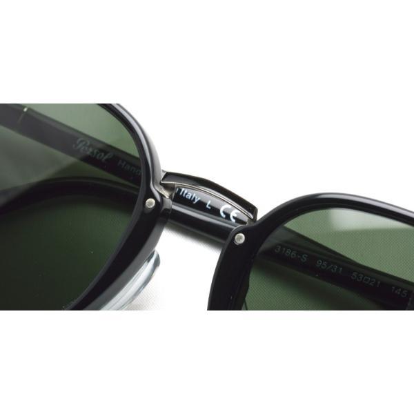 Persol ペルソール  3186S アジアンフィット 95/31 ブラック-ダークグリーンガラスレンズ ウェリントンコンビネーションサングラス イタリア製 国内正規品|props-tokyo|04
