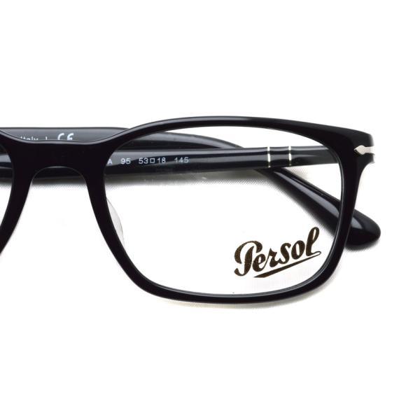 Persol ペルソール メガネフレーム 3189V アジアンフィット  95 ブラック 黒縁ウェリントン イタリア製 国内正規品|props-tokyo|03