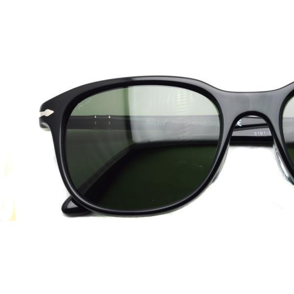 Persol ペルソール  3191S アジアンフィット 95/31 ブラック-ダークグリーンガラスレンズ ウェリントンサングラスイタリア製 国内正規品|props-tokyo|03