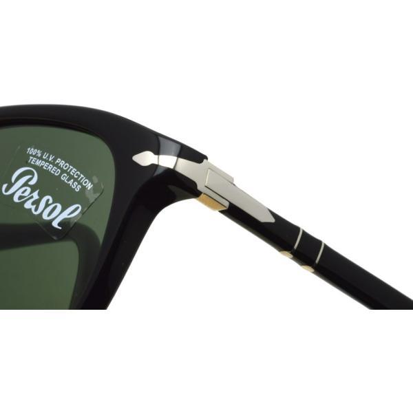 Persol ペルソール  3191S アジアンフィット 95/31 ブラック-ダークグリーンガラスレンズ ウェリントンサングラスイタリア製 国内正規品|props-tokyo|04