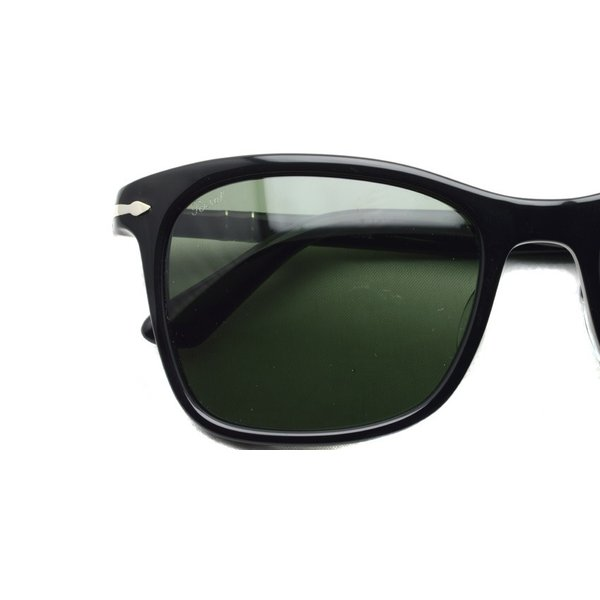 Persol ペルソール  3192S アジアンフィット 95/31 ブラック-ダークグリーンガラスレンズ ウェリントンサングラス イタリア製 国内正規品|props-tokyo|03