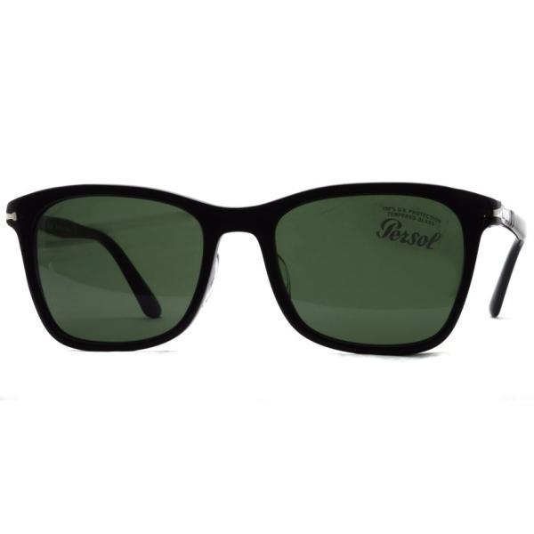 Persol ペルソール  3192S アジアンフィット 95/31 ブラック-ダークグリーンガラスレンズ ウェリントンサングラス イタリア製 国内正規品|props-tokyo|08