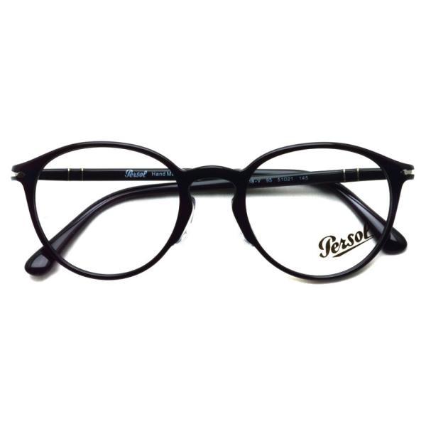Persol ペルソール メガネフレーム 3218V アジアンフィット  95 ブラック 黒縁ボストン イタリア製 国内正規品|props-tokyo|02