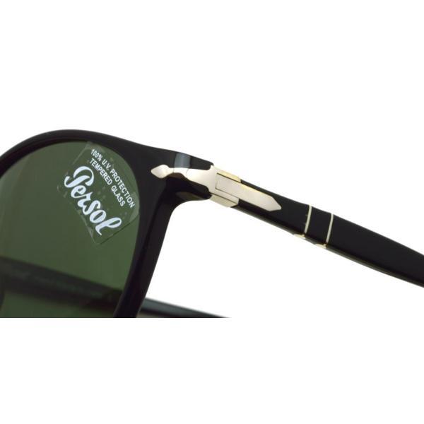 Persol ペルソール  3228S アジアンフィット 95/31 ブラック-ダークグリーンガラスレンズ ボストンサングラス イタリア製 国内正規品|props-tokyo|05