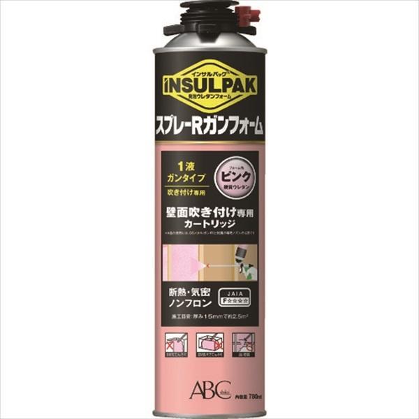 ABC 簡易型発泡ウレタンフォーム 1液ガンタイプ インサルパック スプレーRガンフォーム 780ml フォーム色:ピンク (ISRGF)