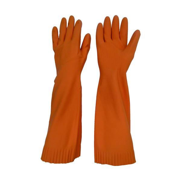 トワロン 天然ゴム手袋 トワローブ天然ゴムあつ手ロング オレンジ M (215-O-M)