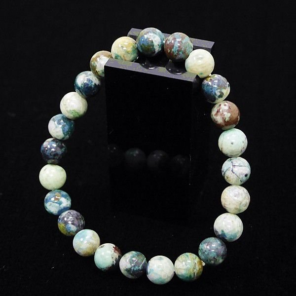 [特選品天然石] 美麗 クリソコラ 珪孔雀石 [8mm]100134|proud