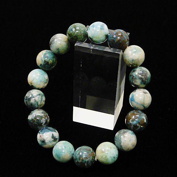 [特選品天然石] 美麗 クリソコラ 珪孔雀石 [12mm]100192|proud