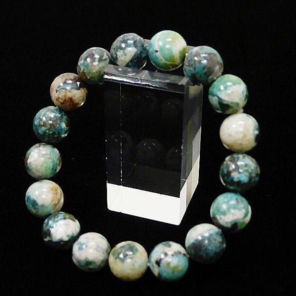 [特選品天然石] 美麗 クリソコラ 珪孔雀石 [12mm]100197|proud