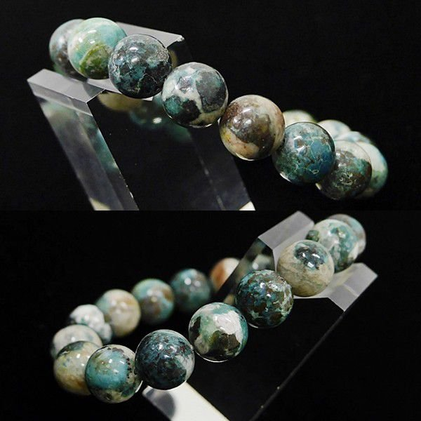 [特選品天然石] 美麗 クリソコラ 珪孔雀石 [12mm]100197|proud|02