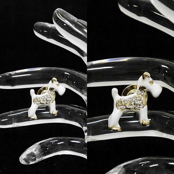 [Original]¥2500+税 [F] メタルきらきらホワイトドッグ(犬)  ピンズ  ] 4102726      aiTA10|proud