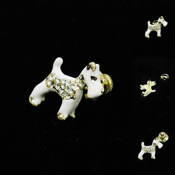 [Original]¥2500+税 [F] メタルきらきらホワイトドッグ(犬)  ピンズ  ] 4102726      aiTA10|proud|02